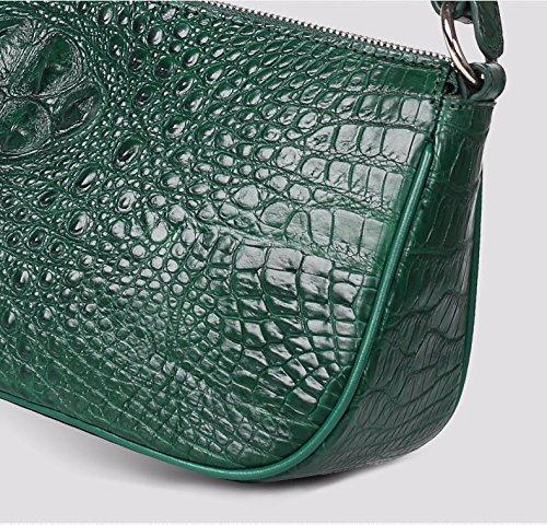 lpkone-Sac à bandoulière motif crocodile sauvage européenne véritable baguette sacs mode sacs femmes Dark Green
