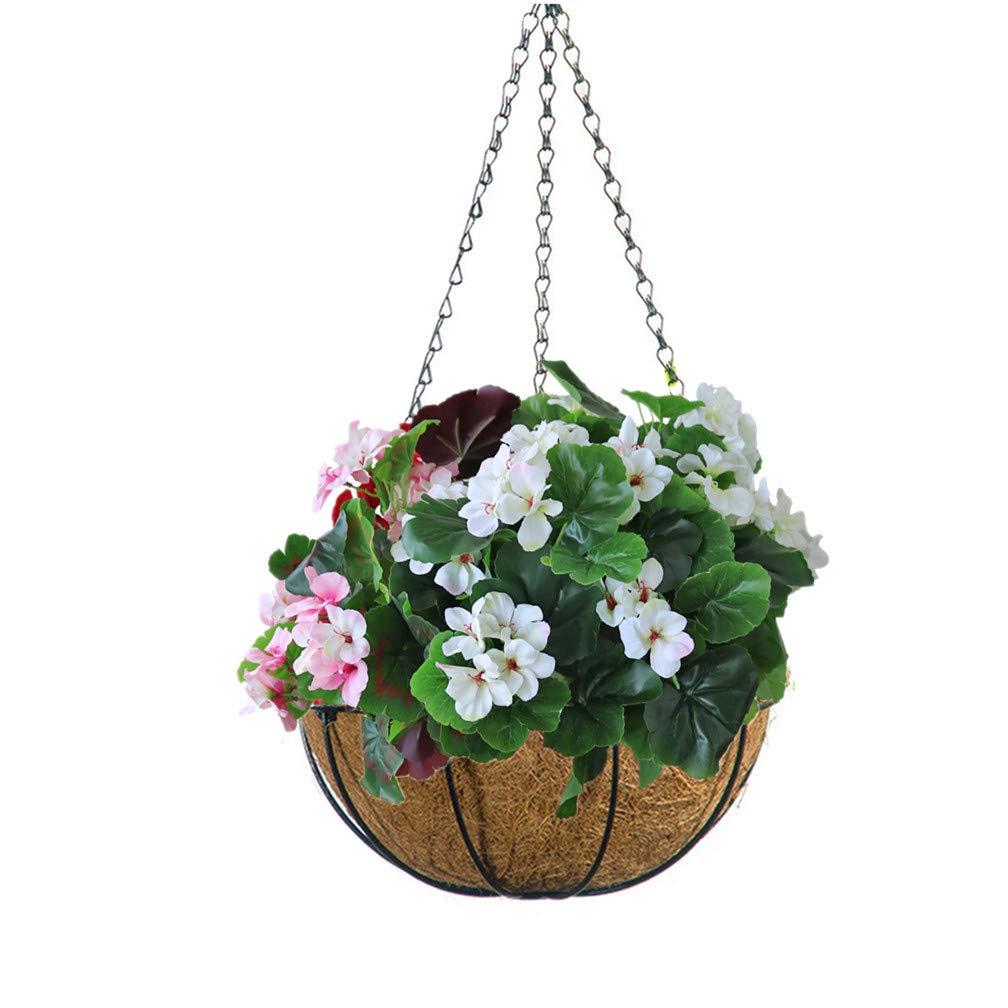 Mynse – Cesta Colgante y Flores Artificiales de Begonia Coloridas para decoración de balcón o hogar