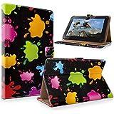 "art&cherry 7"" (7Zoll) Tablet / Tablet-PC Hülle Case - Fintie Ultradünne Smart Shell Cover Lightweight Schutzhülle Tasche Etui Bunte Farbkleckse"