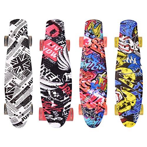 Costway Skateboard Board Street Board Komplettboard Deck Funboard mit Leuchtrollen Modellauswahl (Modell 3) (Street Board Skateboard)