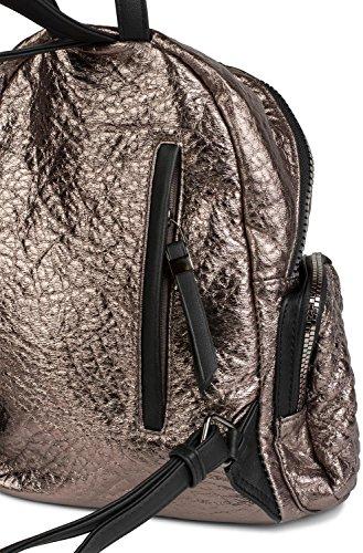 styleBREAKER Rucksack Handtasche in Metallic Stepp Optik und Reißverschluss, Tasche, Damen 02012199, Farbe:Silber Metallic Gold Metallic