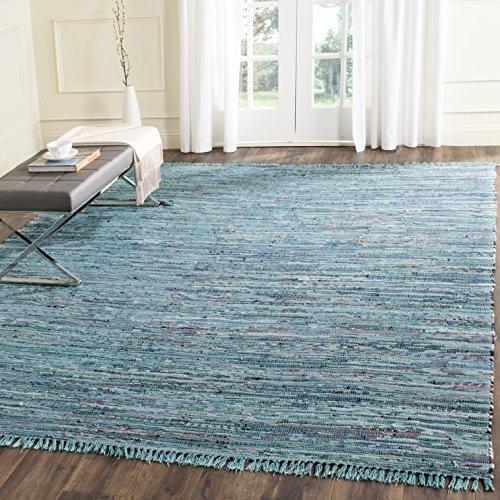 Safavieh Elena Handgewebt Teppich, Baumwolle, Blau / Mehrfarbig, 182 x 274 cm