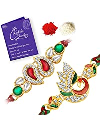 Sukkhi Traditional Rakhi Pear and Peacock Combo (Set of 2) with Roli Chawal and Raksha Bandhan Greeting Card For Men
