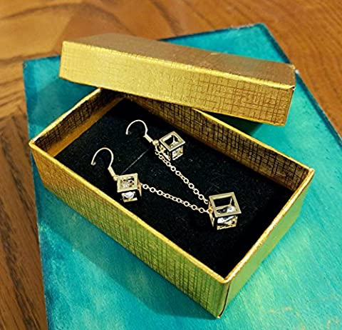 Cube Pandora Box Style Gold gift box with Gold cube earrings & necklace set Pendant Necklace Diamond Jewellery Vintage Hot Fashion Trend Ladies Set Gift Box Jewelry (Gold gift box with Gold cube earrings & necklace set)