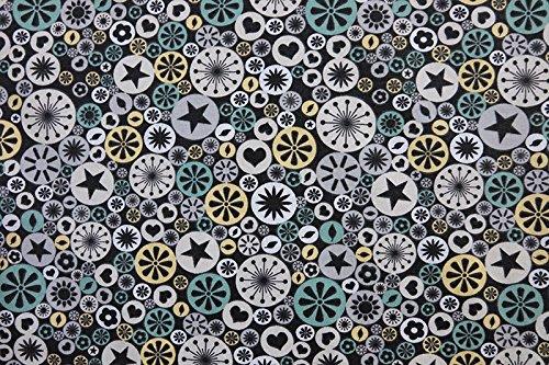 Qualitativ hochwertiger Jersey Stoff mit Sternen, Herzen und Blumen in Kreisen auf Anthrazit als Meterware zum Nähen von Baby, Kinder- und Damenkleidung, 50 cm