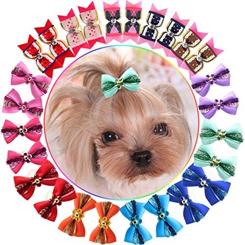 HOLLIHI - Lazos de grogrén para mascotas con bandas de goma, 24 unidades, 12 pares, adorables, con lazos de goma, para el pelo, para cachorro, gato, gatito, gatito, para el pelo, accesorios para el pelo, nudos de remolque, juego de flores para el peluquero