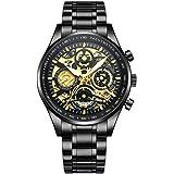 NIBOSI Hollow Skeleton Multifunction Chronograph Calendar Men's Watch