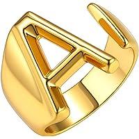 GoldChic Jewelry Anello Aperto Iniziale dalla a alla z di, Anello Aperto Regolabile Lettera Captiale Placcato in Oro 18…