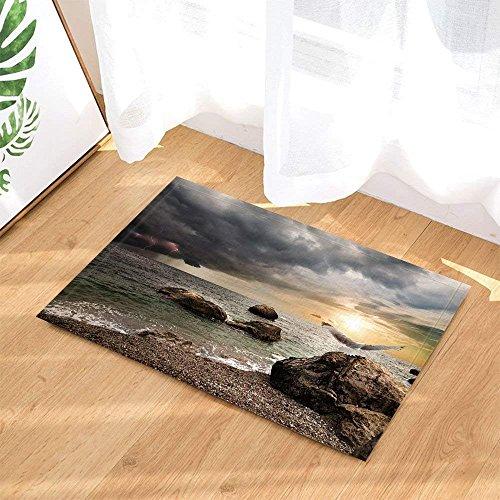 Ozean-Bad-Wolldecken durch Regensturm-dunkle Wolken die untergehende Sonne-Meer Mew auf Felsen rutschfeste Fußmatte-Boden-Eingangs-InnenHaustür-Matten-Kinderbadematte 60X40CM Badezimmer-Zusätze