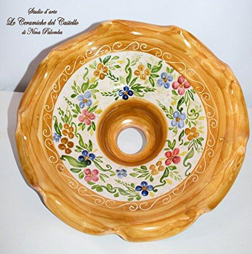 Lampadario diametro 30 centimetri Linea Floreale Ceramica Le Ceramiche del Castello Pezzo Unico Handmade Made in Italy