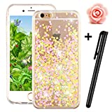 iPhone 6S Plus Glitter Case,Tebeyy Transparent Clear Floating Sparkle Hearts Liquid Bling Case for iPhone 6 Plus,Luxury Cute 3D Creative Moving Love Hearts Stars Hard Protective Shell for Apple iPhone 6 Plus / 6S Plus (5.5 Inch)-Yellow Love