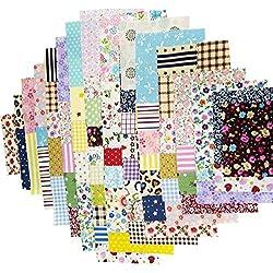 100 Pcs Telas Cuadrados de Algodón Tela Fabric para Tejido Pactchwork Costura Pelusas DIY Artcraft Trabajo Álbumes de Recortes Acolchado de Lunares 15*15cm Colores Mixtos