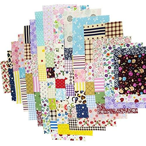 100Pcs Baumwollstoff Patchwork Stoffe DIY Gewebe Quadrate Baumwolltuch Stoffpaket zum Nähen mit vielfältiges Muster 15x15cm