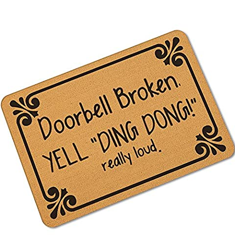 Funny Saying & Quotes:Doorbell Broken Yell Ding Dong Really Loud Custom Doormat Area Rug Non-Slip Door Mats Home Decor for Indoor/Outdoor 23.6(L) X 15.7(W) Inch
