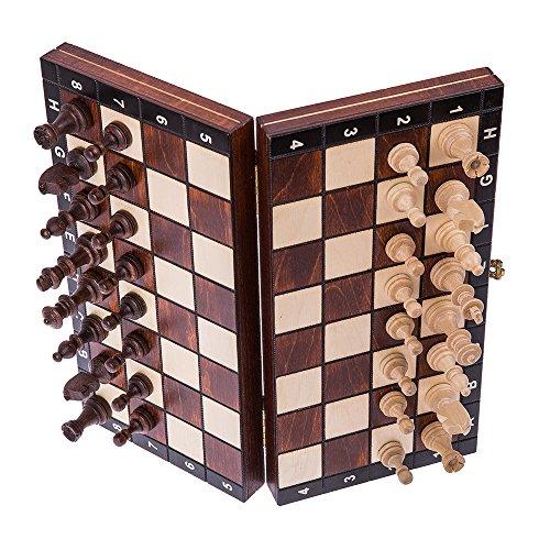 Square - Schach Schachspiel - MAGNETISCHE - 26,5 x 26,5 cm - Schachfiguren & Schachbrett aus Holz -