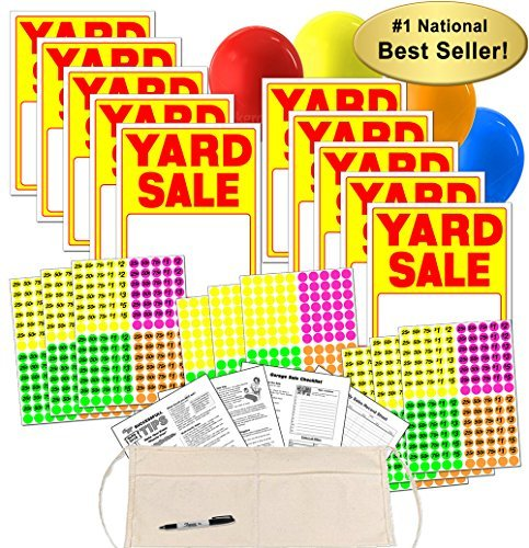 Yard Sale Sign Kit with Pricing Stickers and Change Apron (A504Y) by Garage Sale Pup