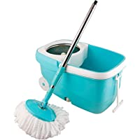 Zizer 360 Degree Spin Bucket Mop with 2 Refills- Super Absorbent Refills for All Type of Floors, 180 Degree Bendable Handle, for Perfect Cleaning with Steel Jali and Big Wheels