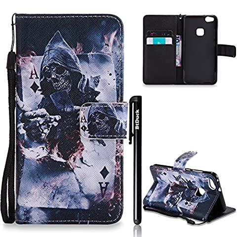 BtDuck Leather Case for Huawei P10 Lite Magician Skeleton Knight
