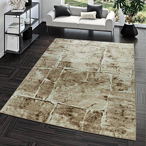 Alfombra Moderna Diseño suelo mármol piedra Salón Alfombra Marrón Top Precio, marrón, 120 x 170 cm