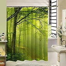 Generic Y958,: 120x 180cm cortina de ducha de tela verde árbol de baño Drape Cortinas de baño resistente al agua Mouldproof poliéster Wahable elegante calidad