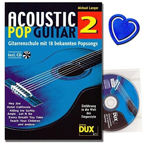 Acoustic Pop Guitar Band 2 mit CD - Einführung in die Welt des Fingerstyle von Michael Lange - erweiterte Akkorde, Ghost Notes und andere Techniken - mit bunter herzförmiger Notenklammer