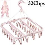Outgeek Drying Hanger, Outgeek Foldable Cloth Hanger with 32 Clips Laundry Drip Drying Hanger Rack Plastic Clothes Hanger for Socks Towels Underwear Bras Diapers Baby Clothes Pants Gloves