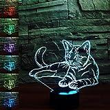 Gatto 3d Illusions di lampade, grande 7cambia colore acrilico che si toccano Tabella scrivania luce di notte con cavo USB per camera da letto per bambini regali di compleanno regalo