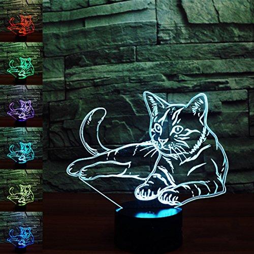 3D katze Illusions-Lampen, Tolle 7 Farbwechsel Acryl berühren Tabelle Schreibtisch-Nachtlicht mit USB-Kabel für Kinder Schlafzimmer Geburtstagsgeschenke Geschenk