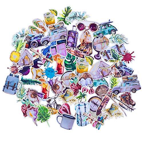 Navy Peony Kit Adesivi Stickers Watercolor | Adesivi piccoli per PC portatili - valigie e smartphone | Tema adesivi auto - luoghi di vacanze - mappamondo ecc | Stickers agenda e diario