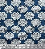 Soimoi Blau Viskose Chiffon Stoff Blumen- Damast Stoff
