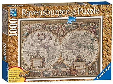 Ravensburger - 19004 - Puzzle Classique - 1000 Pièces - Bois - Carte du Monde Ancienne