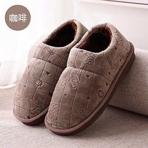 DogHaccd pantofole,Un gran numero di persone anziane in classico cotone felpato pantofole pacchetto alta a caldo con gli uomini e le donne a rimanere a casa di uno spessore di scarpe di cotone e l'inv Il caffè3