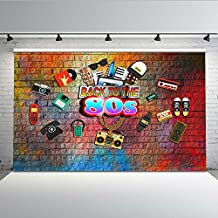Mehofoto 7x5ft Vinyl 80s Party Theme Backdrop Vintage Items Brick Wall 1980s Backdrop for Pictures Seamless Wrinkle Free Photography Video Props