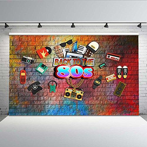 Mehofoto 80er Jahre Party Theme Kulisse 7x5ft Hip Hop gemalt bunte Mauer Foto Kulissen 1980er Jahre nahtlose Falten kostenlose Fotografie Video Requisiten -