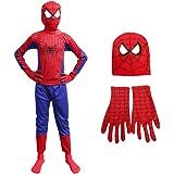 ITSMYCOSTUME Spiderman Halloween Superhero Costume Set of 3 (Costume,Gloves,Mask) for Kids Fancy Dress Costume