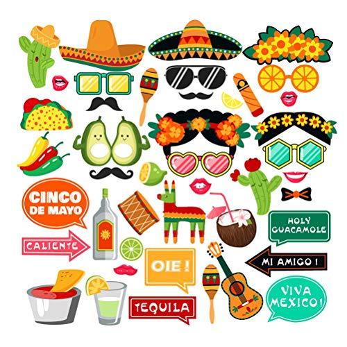 BESTOYARD Mexikanische Fiesta Foto Booth Prop Kit 44 stücke Cinco De Mayo Mexiko Tag der Toten Partei Requisiten Lustige Dekor Prop für Karneval Festival Party