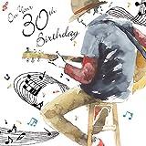 twizler Happy 30. Geburtstag Karte für Ihn mit Silber folieren und einzigartige Wasserfarben Effekt–Musik und Gitarre–30Jahre–Alter 30Geburtstag–Stecker Geburtstag Karte
