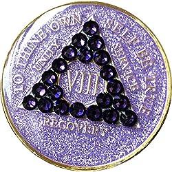 8AN AA Médaillon Violet Paillettes avec cristal de Swarovski en velours Violet Puce