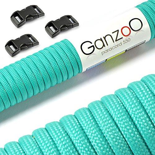 """Paracord 550 Starter-Set einfarbig mit 3 Klickverschlüssen für Armband, Knüpfen von Hundeleine oder Hunde-Halsband zum selber machen / Seil mit 4mm Stärke / Mehrzweck-Seil / Survival-Seil / mit 7 Kernsträngen / Parachute Cord belastbar bis 250kg (550lbs) / reißfestes Kernmantel-Seil / inkl. 3 Klickverschlüssenaus Kunststoff (3/8"""") / Erhältlich in vielen verschiedenen Farben, Marke Ganzoo (Türkis, 30 Meter)"""