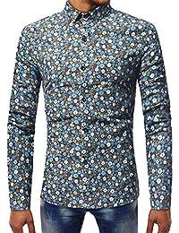 Camiseta de Manga Larga con Cuello en V para Hombre, Casual, de otoño,