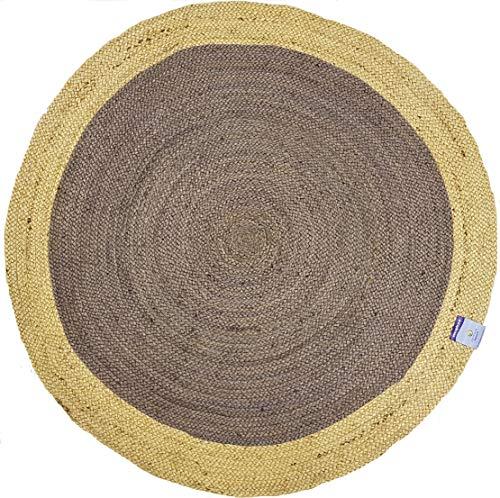 Rugsite Tapis Rond Rond en Jute Naturel Beige 150 x 150 cm Style Rustique pour Toutes Les pièces