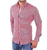 Kariert Männer Hemd,ZEZKT-Herren Kentkragen Knopf Herren Freizeit Langarmshirt ?Passt super auch zur Jeans (M, Rot)
