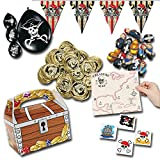 Piraten-Party Mitgebsel Set B mit 225 Teilen Schatzkiste Goldtaler Schatzkarte Ballons Fingerpuppen Wimpelkette Palandi®