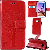 Ooboom® Samsung Galaxy S6 Case Cat Tree Pattern PU Leather Flip Cover Wallet Stand with Card/Cash Slots Packet Wrist Strap Magnetic Clasp for Samsung Galaxy S6 - Red