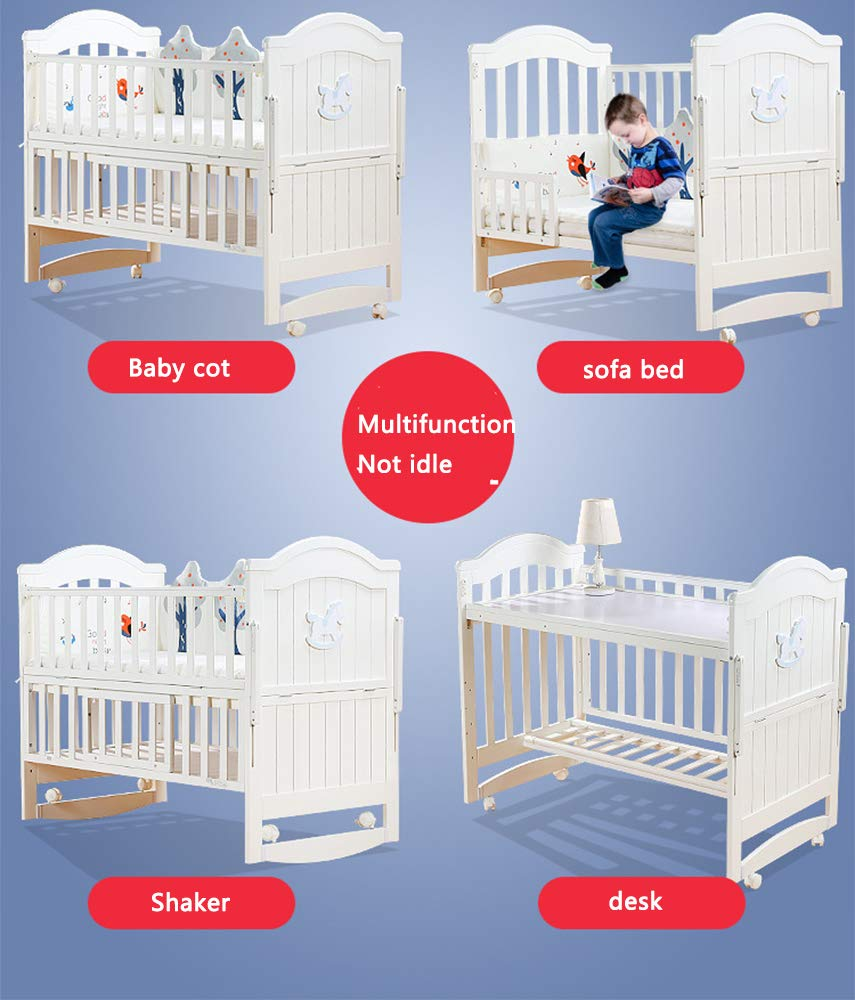 VBARV Solid Wood Crib, Multi-function Cradle Bed, Children's Splicing Bed, Portable Folding Bed, Suitable for Infants 0-8 Months Cute Nest VBARV The multifunctional bassinet design is suitable for use as a standalone crib, or as a co sleeper crib. Interchangeable modes allow either a stable or rocking mode at the touch of a button CONVERTIBLE: Simply pull up the side rail and use the cot as a stand-alone bed or bassinet during the day. Four lockable wheels make it easy for you to move from one room to another having your newborn always on your side. Modern travel crib in easily foldable,Mosquito net to protect your little one against insects, pets etc 8