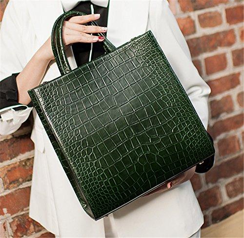 Xinmaoyuan Borse donna in pelle molla borsetta semplice modello di coccodrillo bovini Tote Bag,giallo Verde
