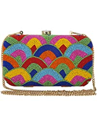 Unibrand - The Indian Handicraft Store Colourful Small Beads On A Arc Designer Handmade Box Clutch