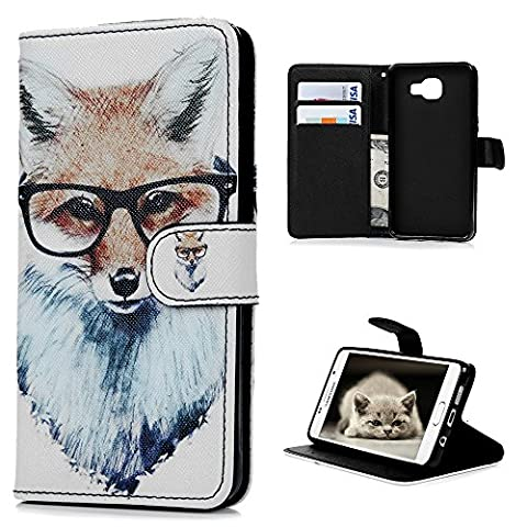 Samsung Galaxy A5 Case (2016 Model) -Kasos Elegant Coloured Printing Flexible Leather Case With Soft Inner TPU Protective Line Stand Wallet Cover Hand Wrist Strap With ID / Cash / Card Slots ( NOT FOR 2015 MODEL )
