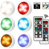 iKALULA Lampe de Placard, 6 RGB Lampe Led Sans Fil 4/16 Couleurs Touche Télécommande Luminosité Réglable Lampe, Lampe adhésiv