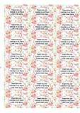 """PERSONALISED A4 Sheet of Glossy Personalised Stickers """"FLORAL"""" Sticky Labels-Party Bag Seals, Invites, Stickers etc...CHOOSE FROM 2 SHAPES"""